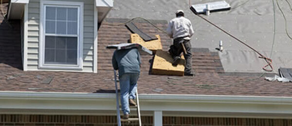 Residential Roof being worked on by StormForce Crew in Jacksonville, FL.